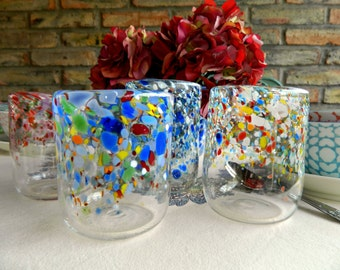 Hand Blown Glasses-Tumblers-Drinkware-Wine Glasses-Wedding Gift-Dining-Entertaining-Set of Four-Color Mix
