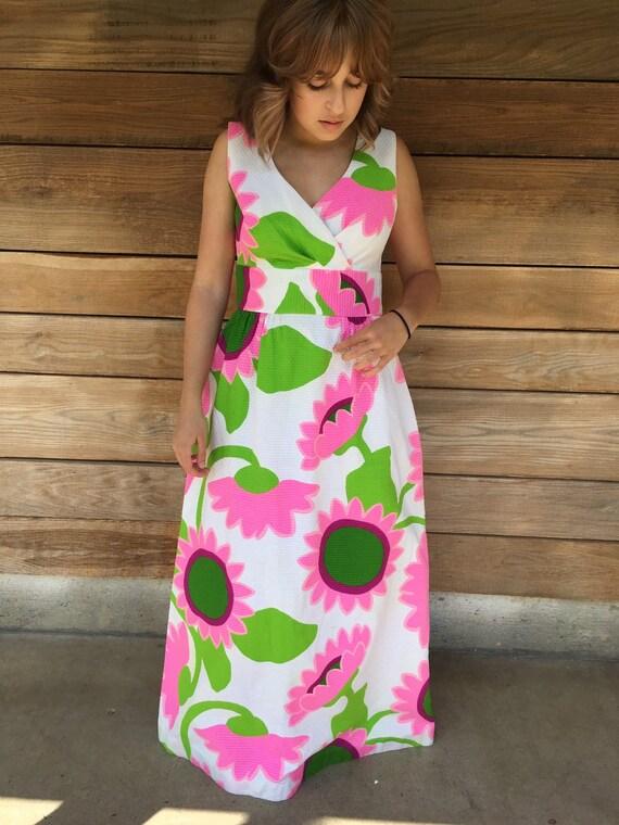 Vintage Hawaiian Maxi Dress / 60s Hawaiian Dress … - image 2