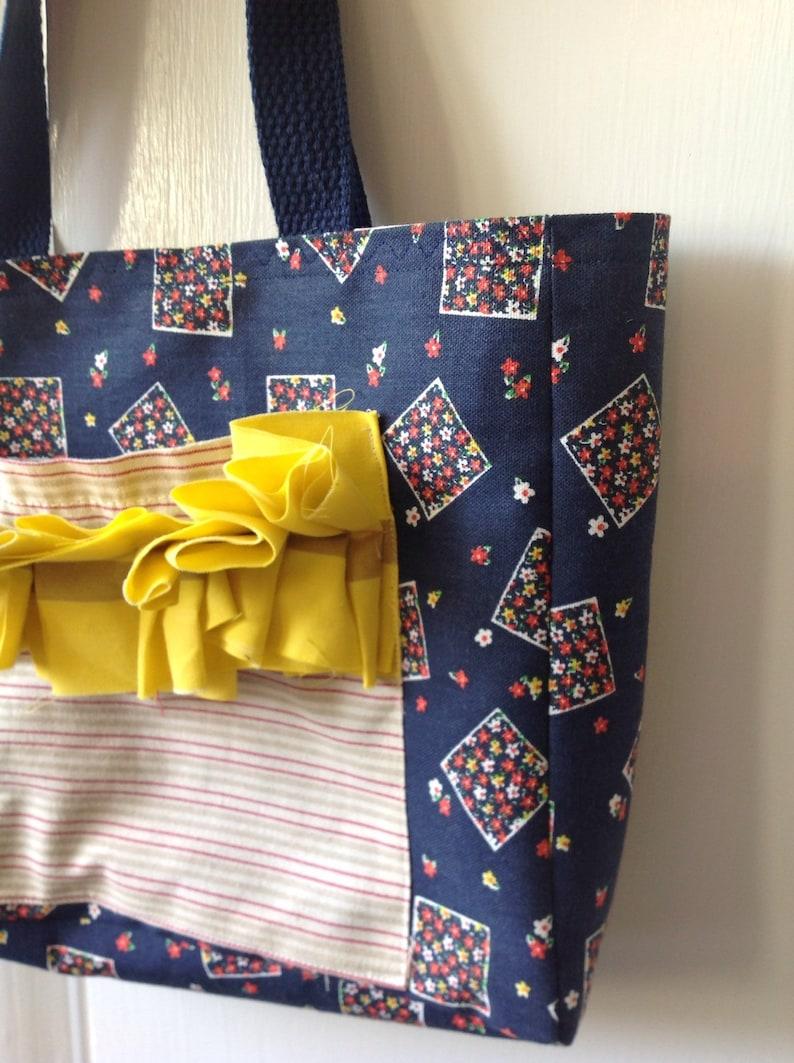 Girls Tote Ruffle Pocket Vintage Fabric Purse Girls Bag