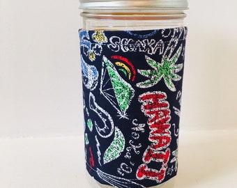 Mason Jar Cozy / Iced Coffee Cozy / Hawaiian