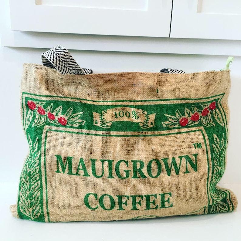 Maui Grown Coffee Sack Tote  Beach Bag  Market Bag