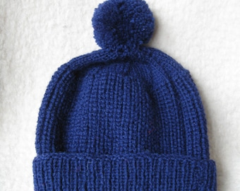 Cozy Warm hand-knitted Navy Blue Hat