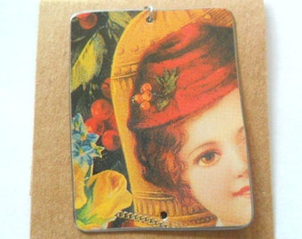 Victorian Inspired Recycled Cookie Tin Pendant Finding