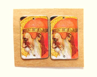Upcycled Decorative Vintage Tin Findings Pair