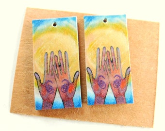 Soul Searching Art Paper Print over Artboard Findings Pair-Top Hole Only