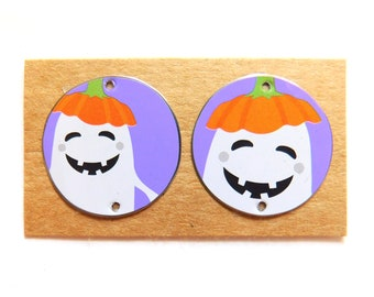 """7/8"""" Upcycled Halloween Tin Findings Pair"""