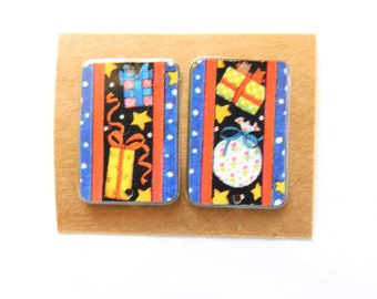 Mary Engelbreit Upcycled Holiday Tin Findings Pair