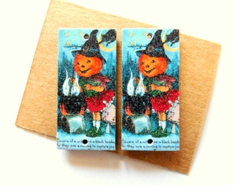 Halloween Vintage Post Card Art Paper Print over Artboard Findings Pair