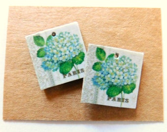 Floral Art Paper Print over Artboard Findings Pair-Top Hole Only