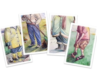 Postcards - Greeting Cards - Seasons - Winter - Spring - Summer - Fall - watercolor