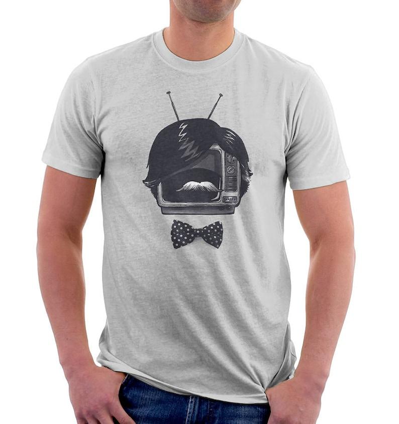 Fancy TV Set  Funny Tshirts  Original Tshirts  Mustache  image 0