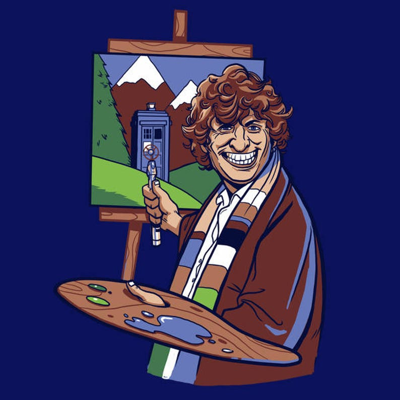 Doctor Who Tshirt  Bob Ross  Happy Little Police Box  image 0