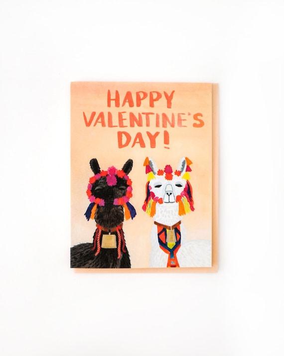 Llamas Valentine S Day Card Etsy