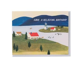 Seaside Town Birthday Card