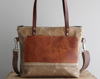 Medium Waxed Canvas Tote in Tan with Cognac Leather Pockets and Handles Cross Body Strap