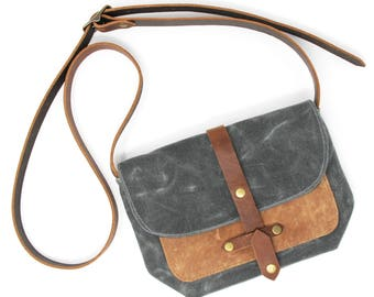 Waxed Canvas Purse Bag with Front Leather Pocket in Charcoal and Tan