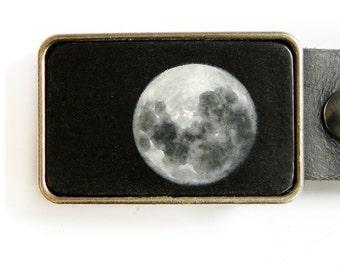 Full Moon Belt Buckle Black Silver