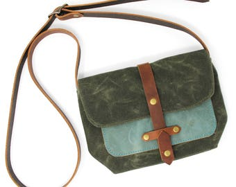 Waxed Canvas Purse Bag with Front Leather Pocket in Green and Teal Blue Green