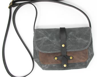 Waxed Canvas Purse Bag with Front Leather Pocket in Charcoal and Taupe