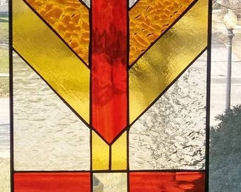 stained glass panel,prarie design,south western,abstract,leaded glass,frank lloyd wright,suncatcher,stain glass, window,usa,home decor,red