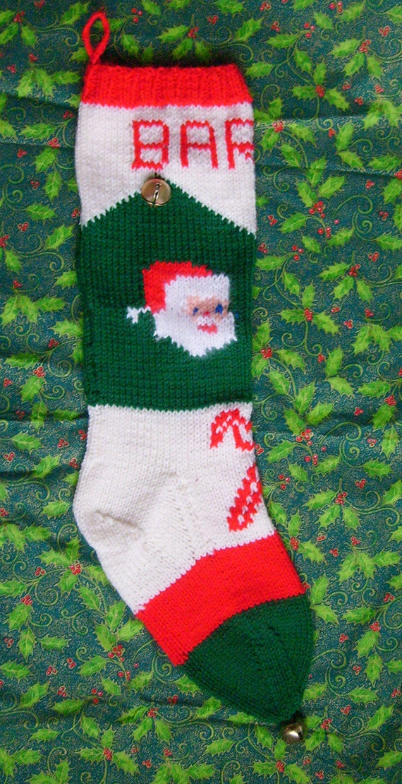 1950\'s Vintage Knitted Santa Christmas Stocking Pattern | Etsy