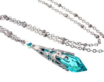 502d51c4f2abd Aqua Blue Icicle Crystal Silver-tone Filigree Pendant | Etsy