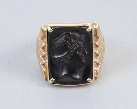 Antique Victorian 10k rose gold black onyx Mercury cameo ring, size 9