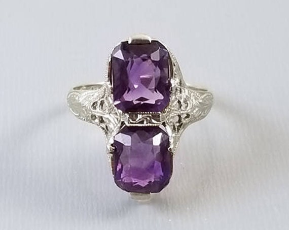 Vintage Art Deco 14k white gold filigree cushion cut two stone Toi et moi you and me amethyst statement ring, E.L. Logee, Providence, RI