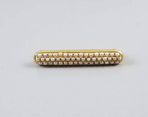 Antique Edwardian 14k gold signed AJ Hedges & Co bar pin brooch with rows of 49 tiny seed pearls