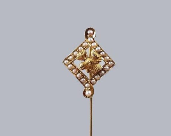Antique Edwardian Art Nouveau 14k Moose Lodge Masonic pearl stick pin, signed William C Green & Co, stickpin, lapel pin, tie pin, tie tack