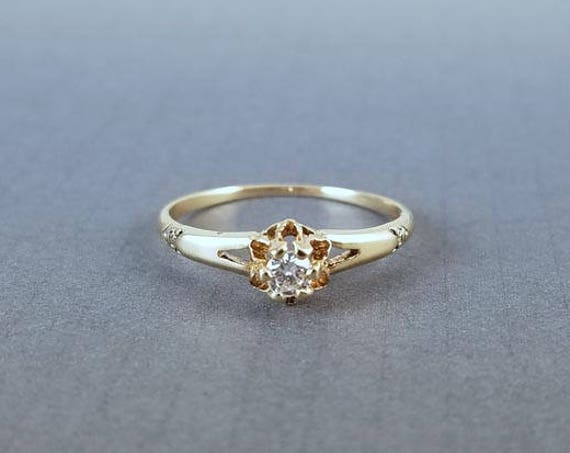 Antique Edwardian 14k gold .10 ct diamond bridal wedding solitaire engagement ring size 7