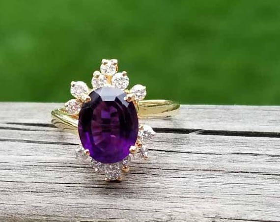 Modern estate 14k gold 2.15 carat Siberian amethyst .48 carat diamond asymmetrical bypass style halo cocktail ring, size 6