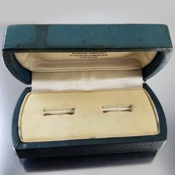 Vintage Art Deco teal blue leatherette gold embossed border double wedding ring display presentation box, vintage wedding band, bridal