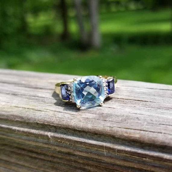 Modern estate 10k gold blue topaz tanzanite and diamond statement ring, cocktail ring, size 7-1/4