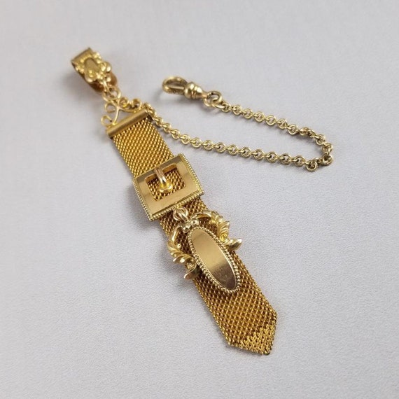 Antique Edwardian gold filled mesh link pocket watch fob with buckle detail, signed S.O. Bigney & Company