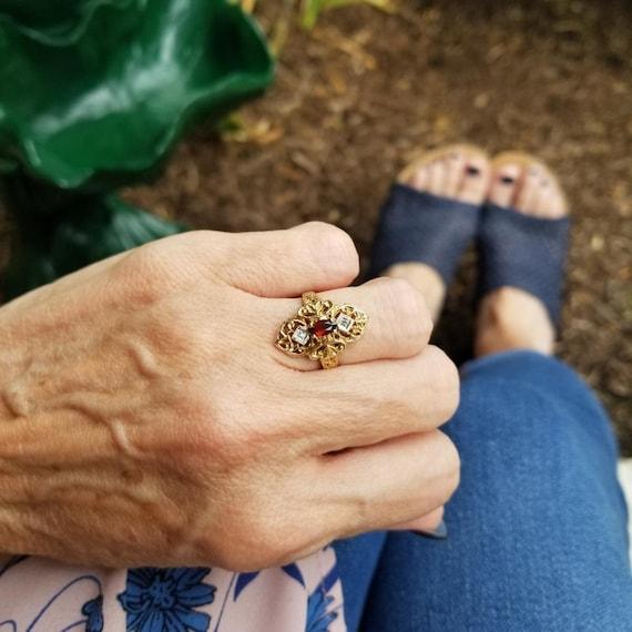 Vintage estate 10k gold filigree marquise garnet and diamond elongated navette statement ring, size 5