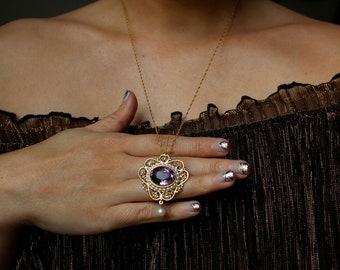 Vintage estate 14k gold 6.68 carat purple amethyst pearl halo beaded filigree pendant necklace brooch pin