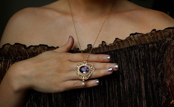 Vintage estate 14k gold 6.68 carat purple amethyst pearl halo beaded filigree pendant necklace brooch pin