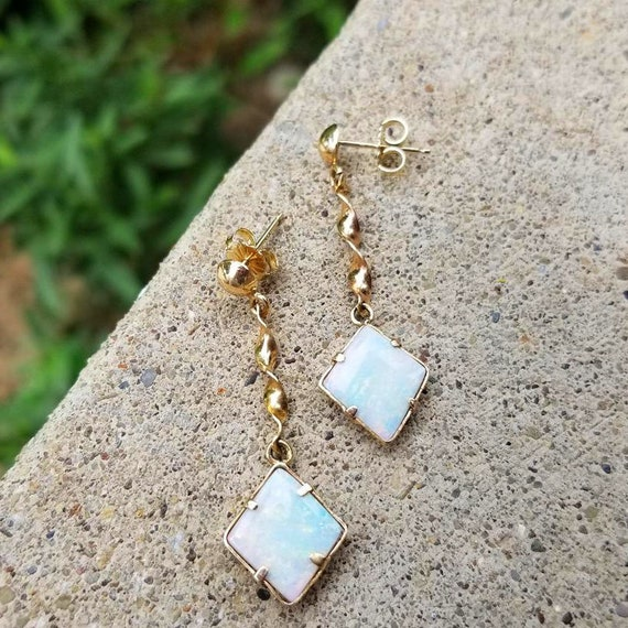 Vintage estate mid century 14k gold hand crafted organic opal earrings, butterfly clutch back posts