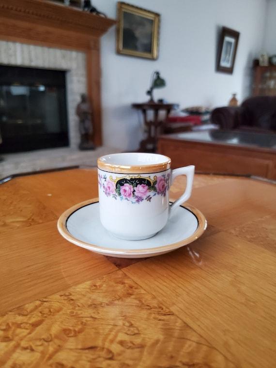Vintage hand painted Japan demitasse lusterware cup and saucer, porcelain, china, bone china, tea, coffee