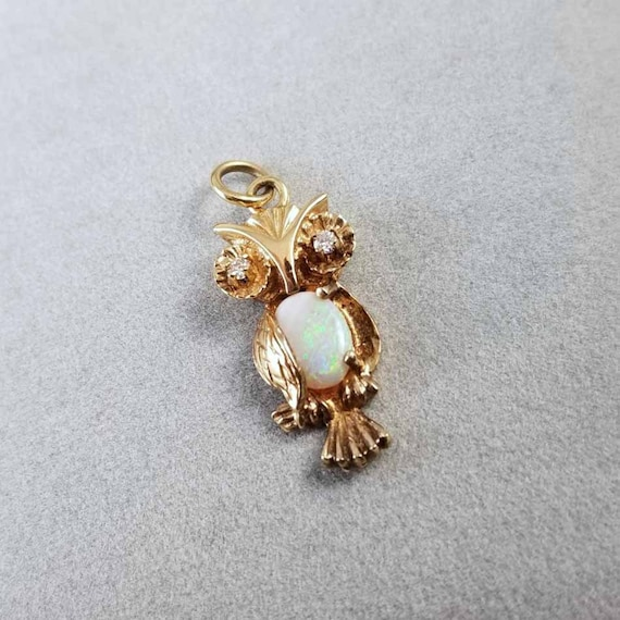 Vintage estate 14k adorable wise owl figural opal belly and diamond eyes charm, pendant, necklace