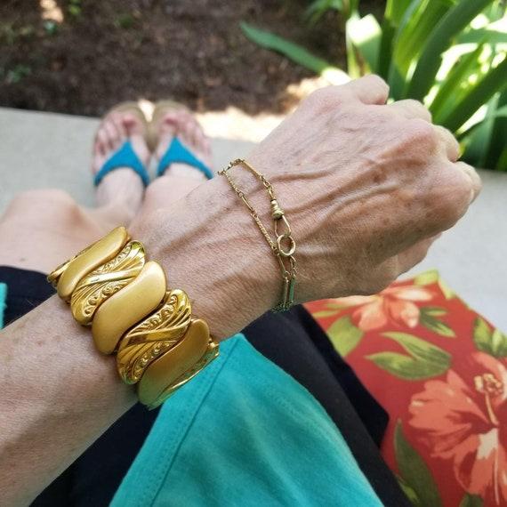 Vintage Art Deco big wide bold expansion scissors stretch adjustable cuff bracelet, gold filled, signed Bugbee & Niles Company