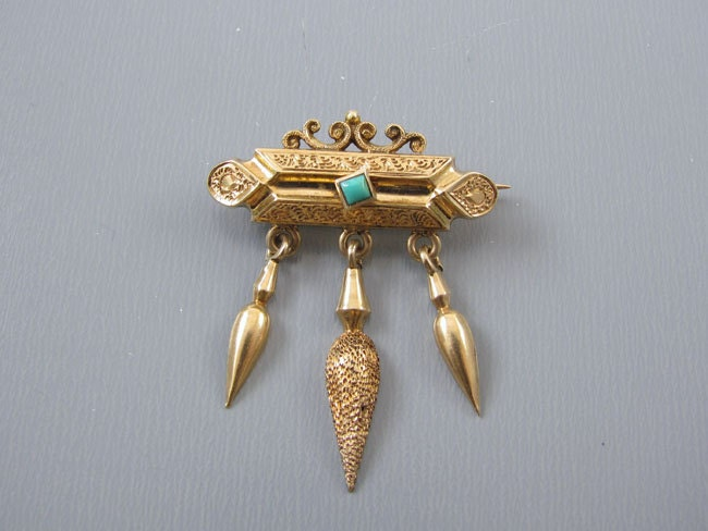 b576a8757d41e Antique mid Victorian 14k gold Etruscan Revival amphora tassel drop ...