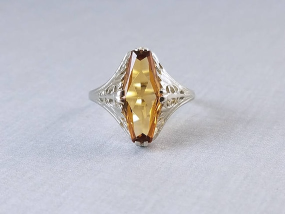 Vintage Art Deco 14k white gold filigree 1.65 ct citrine quartz elongated ring, size 8, signed Arnold & Steere