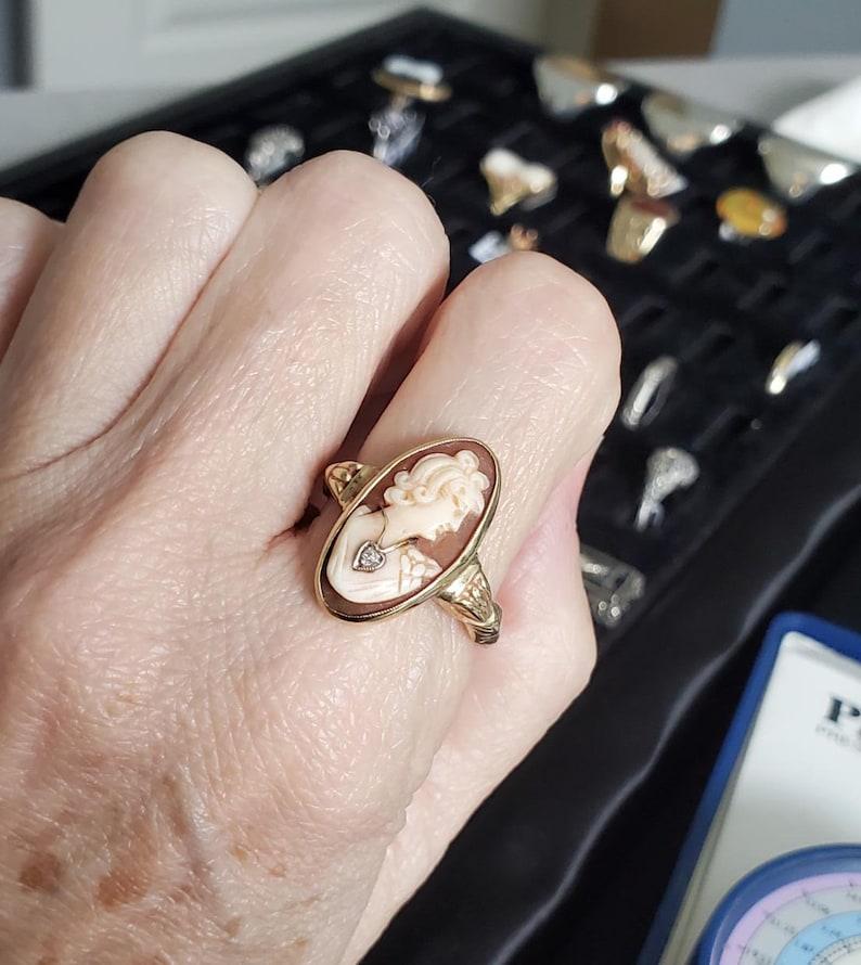 Vintage size 10 Art Deco 10k gold cameo diamond enhabille wearing necklace statement ring