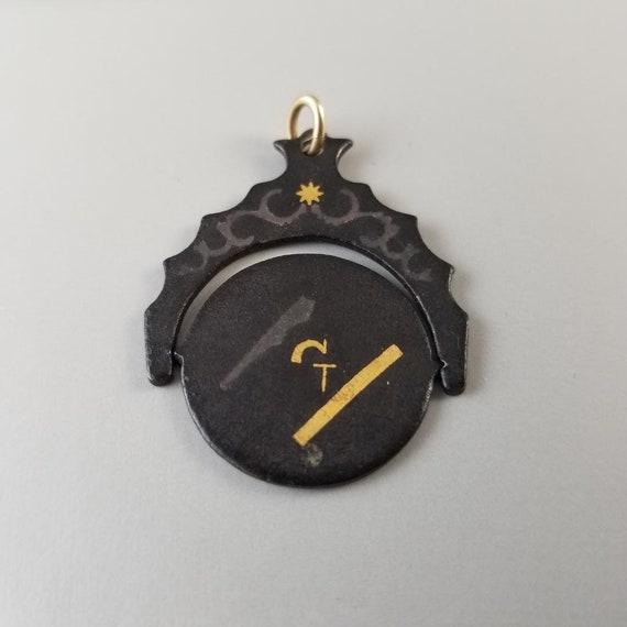 Vintage black damascene enamel Masonic flip spinner fob, charm, pendant, Japanese Shakudo