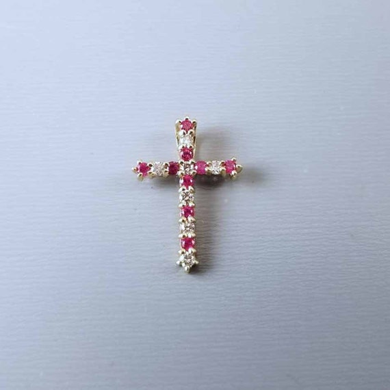 Modern contemporary 14k gold ruby and diamond cross pendant charm for necklace no chain
