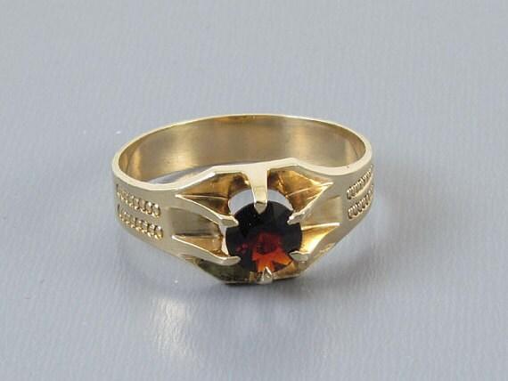 Mans signed WWW White Wile Warner antique Edwardian 10k rose gold .83 carat garnet  solitaire ring, size 10-1/2