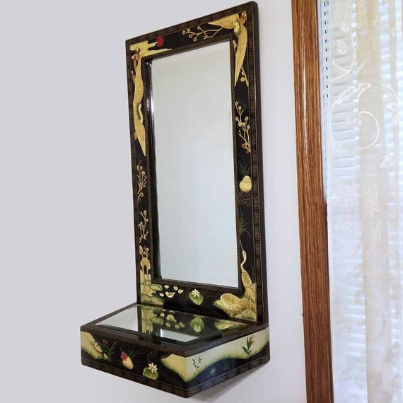 Vintage mid century Asian black lacquer double mirror wall shell, hall mirror, 1960s, Japan, Japanese, Oriental, NOT FREE SHIPPING