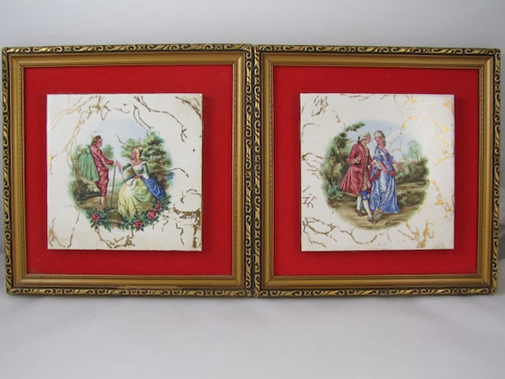 Pair of vintage mid century gold leaf picture frame tile and red velvet wall art / wall hanging / wall plaque / man and woman courting